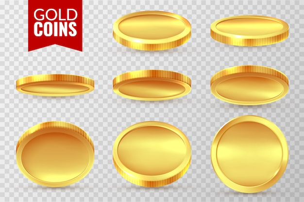 Set di monete d'oro. realistica moneta d'oro, simboli di pagamento di denaro contante in contanti. il dollaro del casinò di jackpot di bingo canta
