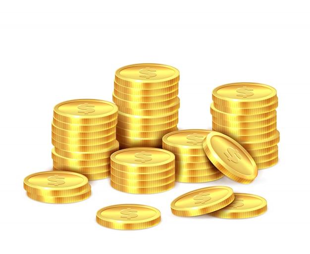 Pila di monete d'oro. mucchio realistico dei soldi della moneta del dollaro dorato, contanti impilati. bonus del casinò, concetto di profitti e entrate