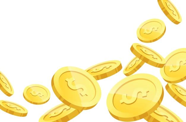 Monete d'oro su sfondo bianco