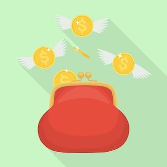 Monete d'oro con ali che volano fuori dal portafoglio