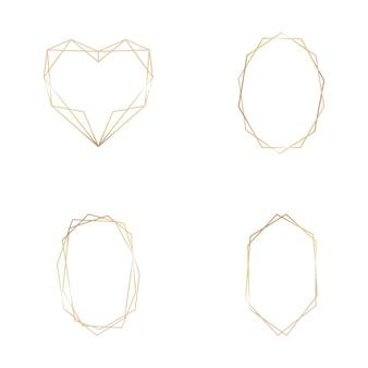 Collezione oro di cornice geometrica su sfondo bianco. elemento decorativo per logo, carta, invito. modelli di lusso, stile art deco per invito a nozze.