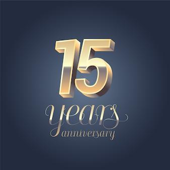 Elemento di design grafico di colore oro per banner di compleanno di 15 anni anniversario