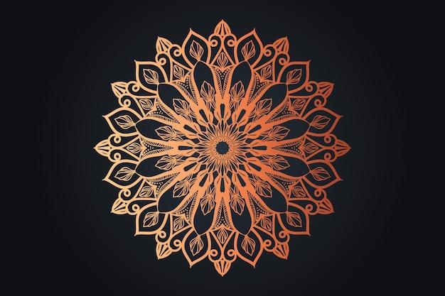 Design di mandala ornamentale di lusso color oro