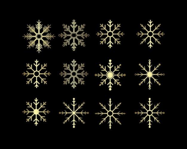 Collezione di fiocchi di neve color oro