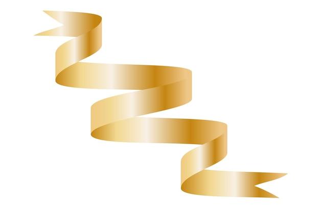 Nastro curvo colorato oro su sfondo bianco. illustrazione di vettore. eps10