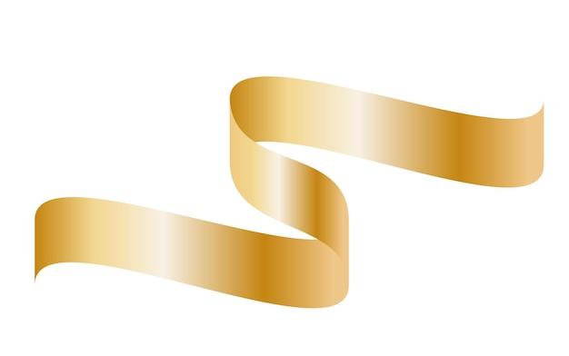 Nastro curvo colorato oro su sfondo bianco. illustrazione di vettore.
