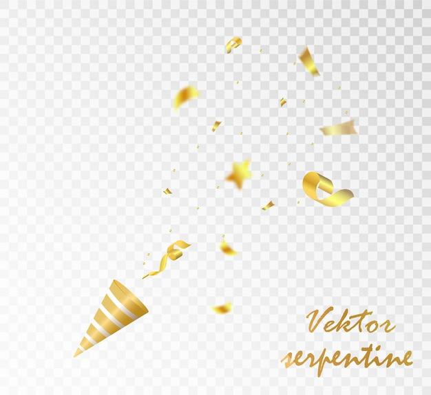 Coriandoli e nastri dorati che cadono su uno sfondo trasparente illustrazione festiva vector