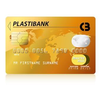 Illustrazione vettoriale di carta di credito in oro, altamente dettagliata