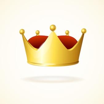 Corona d'oro isolata su un bianco