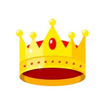 Corona d'oro corona di gioielli rossi re principe e regina