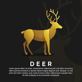 Modello di logo di cervi d'oro