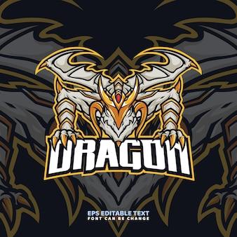 Modello di logo della mascotte del drago d'oro