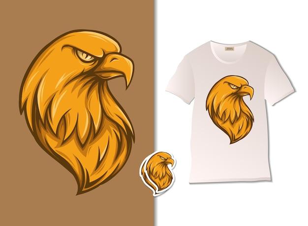 Illustrazione di aquila d'oro con design t-shirt