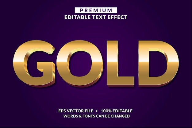 Effetto testo modificabile oro isolato su viola