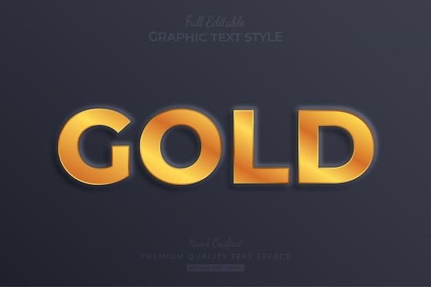Stile carattere effetto testo modificabile in rilievo oro