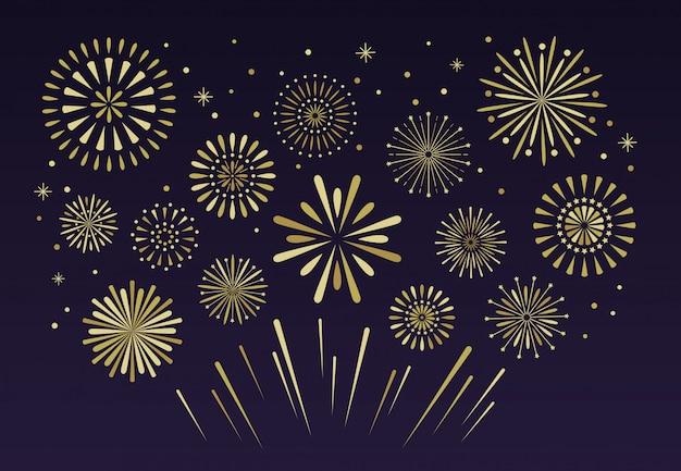 Fuochi d'artificio festivi d'oro. petardo pirotecnico di natale