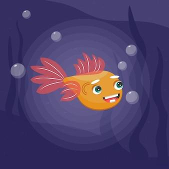 Elemento dell'illustrazione di vettore del personaggio dei cartoni animati del pesce d'oro clip art
