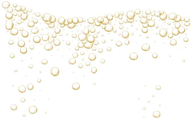 Bolle frizzanti d'oro champagne scintillanti soda fresca astratta e bolle d'aria cristallo di champagne di ossigeno