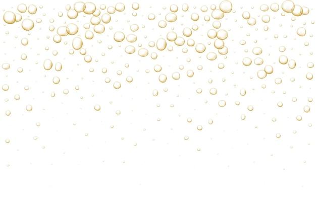 Bolle frizzanti dorate champagne scintillanti pop frizzante e bevanda effervescente soda fresca e aria astratte