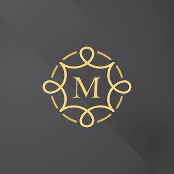Illustrazione di vettore di progettazione di logo di lineart del modello di progettazione del monogramma floreale dell'oro