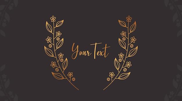 Viti fiore d'oro e corona di alloro foglia decorazione cornice stile elegante bellezza