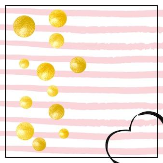 Modello di lamina d'oro. effetto romantico dorato. vernice alla moda a righe. celebrazione polvere di stelle. 14 febbraio particelle. salva data tessile. rose holiday starburst. motivo a lamina d'oro rosa