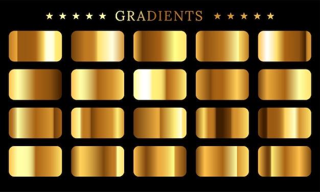 Set di texture di lamina d'oro Vettore Premium