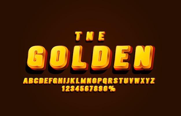 Set di caratteri d'oro lettere e numeri di raccolta simbolo vettore