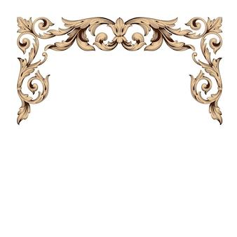 Cornice e bordo in oro con stile barocco. colore bianco e nero. decorazione ad incisione floreale