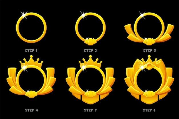 Grado di gioco con cornice dorata, modello di avatar rotondo 6 passaggi di animazione per il gioco.