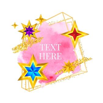 Vernice con cornice dorata dipinta a mano con pennellata vettoriale, design perfetto per il logo del titolo e banner di vendita con...