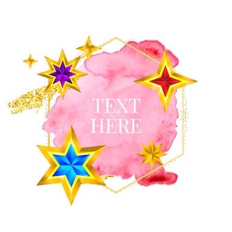 Vernice con cornice dorata dipinta a mano con pennellata vettoriale, design perfetto per il logo del titolo e il banner di vendita con...