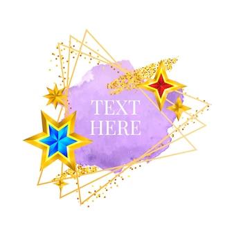 Pennellata vettoriale dipinta a mano con vernice con cornice dorata, design perfetto per il logo del titolo e il banner di vendita
