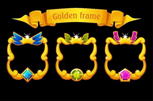 Cornice dorata con gemma, modello quadrato con nastro per il gioco dell'interfaccia utente. illustrazione vettoriale set cornice dorata con diamante per la progettazione grafica.