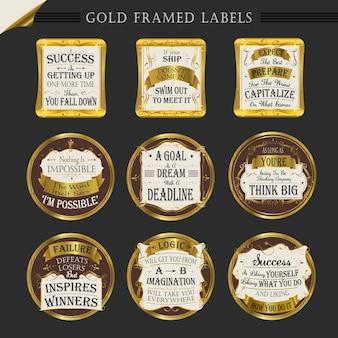 Collezioni di etichette di alta qualità con cornice dorata su sfondo scuro