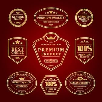 Set di etichette di cornici dorate