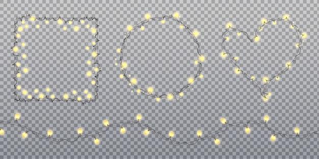 Lampadine di ghirlanda d'oro isolate su sfondo trasparente. luci di natale. ghirlanda d'oro incandescente per le vacanze di natale
