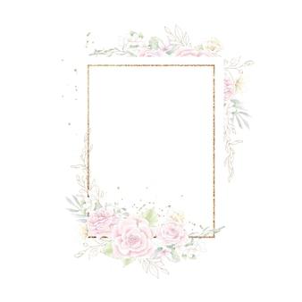 Cornice geometrica oro con rose. illustrazione dell'acquerello.