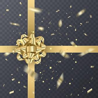 Nastro regalo d'oro con fiocco realistico. elemento regalo per la progettazione della carta. sfondo vacanza,