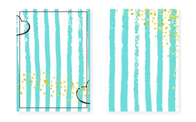 Carte glitter oro con punti, paillettes. invito per matrimonio e addio al nubilato con coriandoli. sfondo di strisce verticali di menta. carte di moda glitter oro per feste, eventi, volantino salva la data date