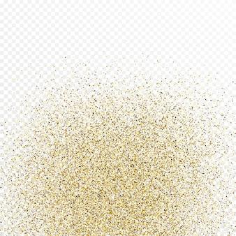 Sfondo di coriandoli glitter oro isolato su sfondo bianco trasparente. texture celebrativa con effetto luce brillante. illustrazione vettoriale.