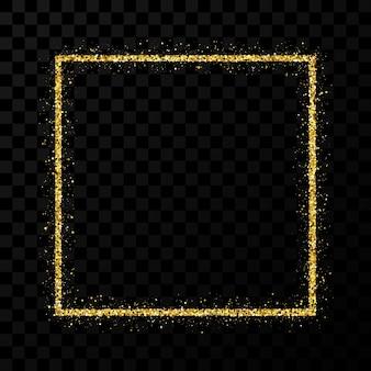 Cornice glitterata oro. cornice quadrata con scintillii lucidi su sfondo trasparente scuro. illustrazione vettoriale