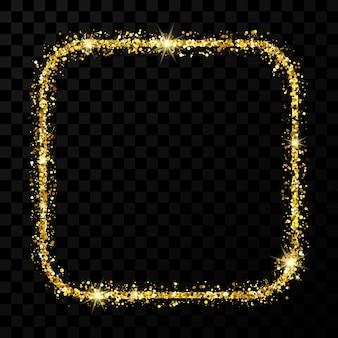 Cornice glitterata oro. cornice quadrata con angoli arrotondati con scintillii lucidi su sfondo trasparente scuro. illustrazione vettoriale