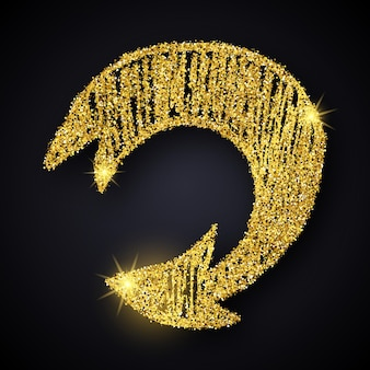 Freccia disegnata a mano di scintillio dell'oro. freccia doodle con effetto glitter oro su sfondo scuro. illustrazione vettoriale