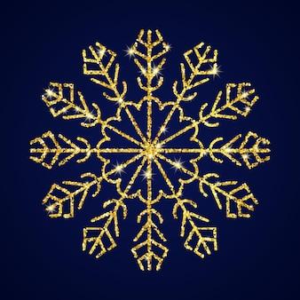 Fiocco di neve glitter oro su sfondo blu scuro. elementi di decorazione di natale e capodanno. illustrazione vettoriale.