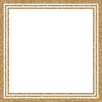 Cornice quadrata glitter oro con scintillii su sfondo bianco. elementi di tendenza per il tuo design. illustrazione vettoriale.