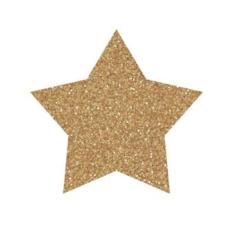 Stella glitterata d'oro. illustrazione vettoriale su bianco