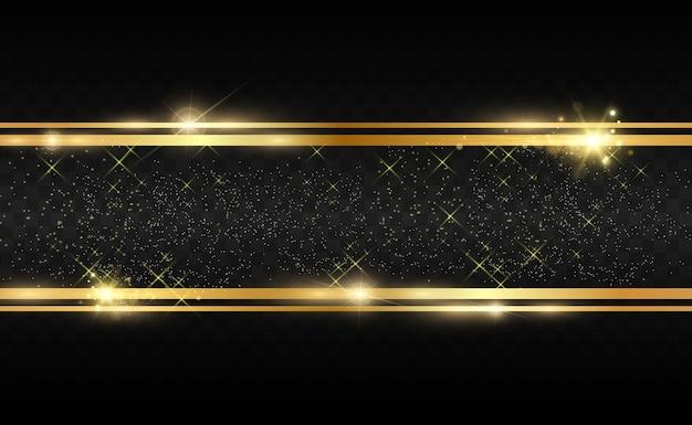 Glitter oro con cornice oro lucido su sfondo nero trasparente