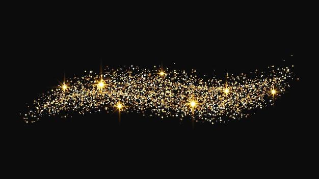 Onda di coriandoli scintillanti d'oro e polvere di stelle. scintille magiche dorate su sfondo scuro. illustrazione vettoriale