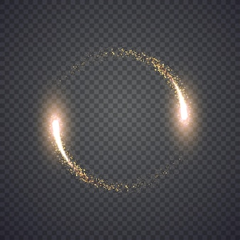 Cerchio di luci di polvere di stelle scintillanti d'oro. illustrazione isolato su sfondo. concept grafico per il tuo design